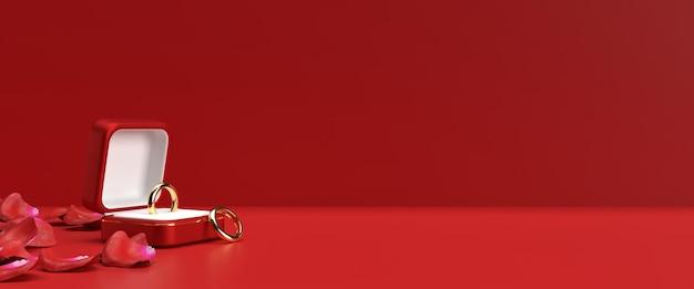 Gouden verlovingsringen voor valentijnsdag in 3d-rendering
