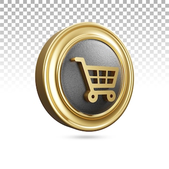 Gouden winkelwagentje icoon in 3d-rendering