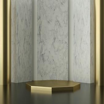 Gouden zeshoek podium met marmeren muren