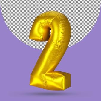 Goudfolieballon met realistisch nummer 2