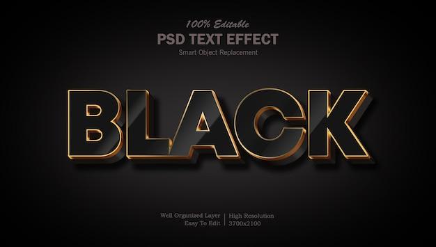 Goudzwart 3d psd bewerkbaar teksteffect