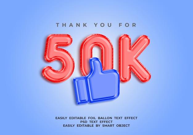Gracias por 50k seguidores, efecto de texto de globo de lámina 3d para redes sociales