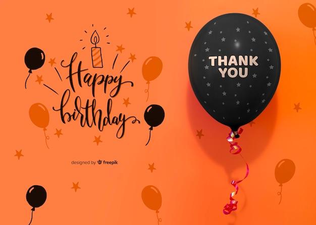 Gracias y feliz cumpleaños con confeti y globos.