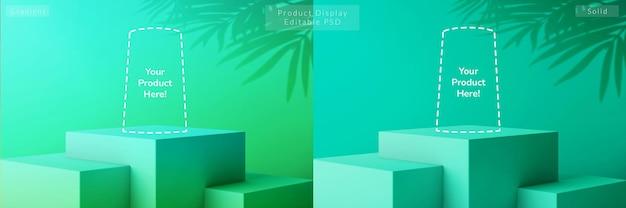 Gradiënt zomerbries tropisch groen kubusniveau voetstuk 3d-realistische productweergave