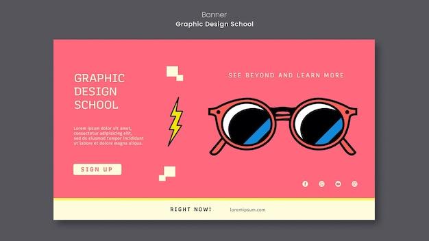 Grafisch ontwerp school sjabloon voor spandoek