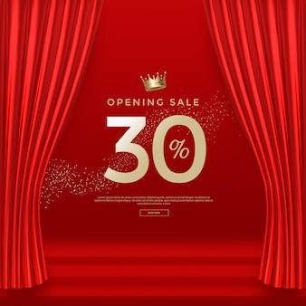 Gran apertura plantilla de banner de venta con cortinas de terciopelo de seda roja de lujo.