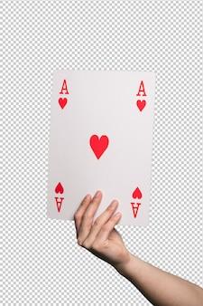 Gran carta de poker sobre blanco.