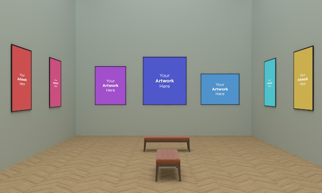 Gran galería de arte enmarca muckup ilustración 3d y renderizado 3d