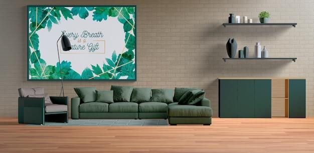 Gran marco de pintura minimalista en la sala de estar