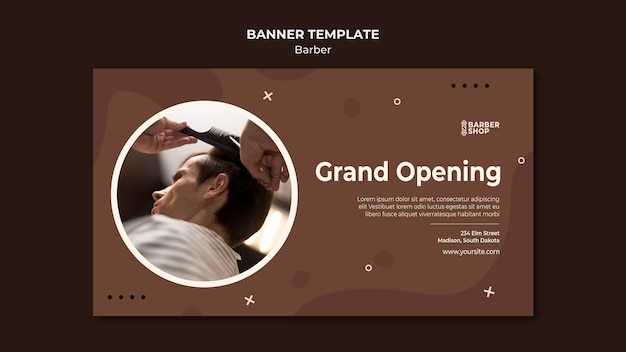 Grand opening client bij de kapperswinkelbanner