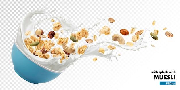 Granola con salpicaduras de leche aislado