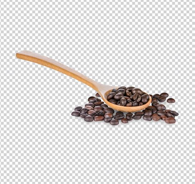 Granos de café y granos de café en cuchara aislados premium psd