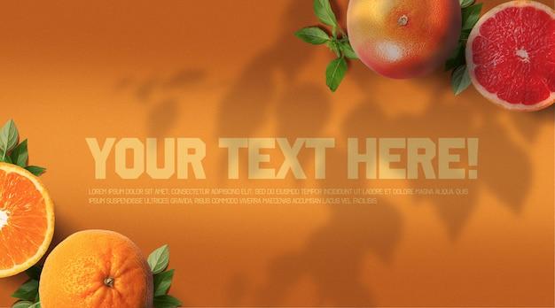 Grapefruit en orange mockup met branch shadows en warm