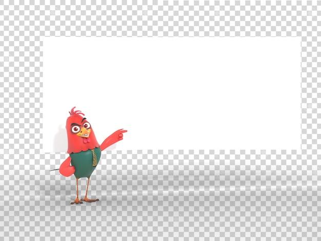 Grappige kleurrijke 3d karakter mascotte illustratie leeg wit papier achter met transparante achtergrond
