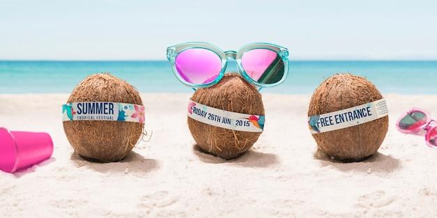 Grappige kokosnoot met zonnebrilfestival