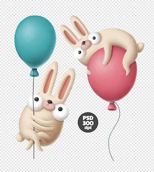 Grappige konijnen met luchtballonnen