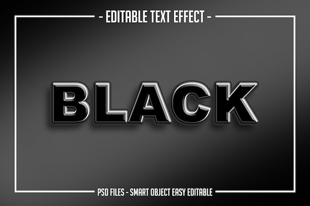 Grassetto moderno effetto di testo modificabile in stile testo nero nero lucido
