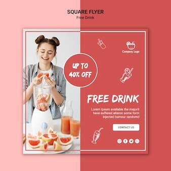 Gratis drankje vierkante flyer ontwerpen