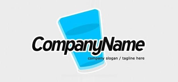 Gratis logo ontwerp sjabloon met waterglas pictogram