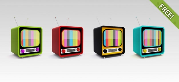 Gratis psd retro tv pictogrammen