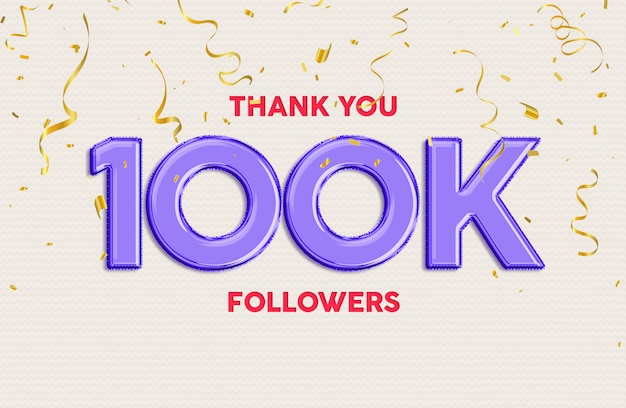 Grazie 100k follower stile di testo 3d