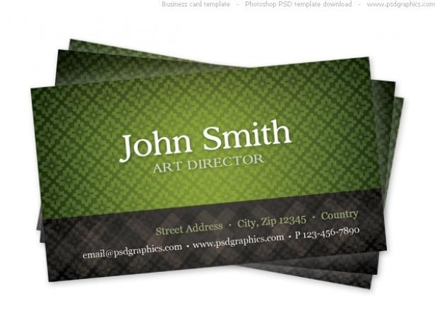 Green business card template met naadloze patroon