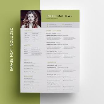 Green resume design met topbar