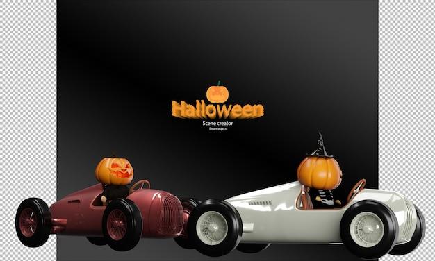 Griezelig en schattig halloween-pompoenpopkarakter op vintage raceautospeelgoed