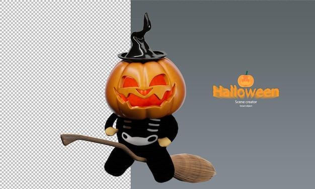 Griezelig en schattig halloween-pompoenpopkarakter op vliegende bezem