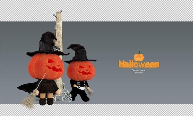 Griezelig en schattig halloween-pompoenpoppenkarakter met een heksenhoed en vliegende bezem