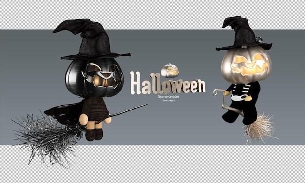 Griezelig en schattig halloween-pompoenpoppenkarakter op vliegende bezem metallic hoofd