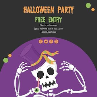 Griezelig halloween-concept met skelet