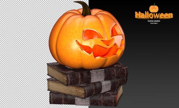 Griezelige en schattige halloween-pompoen op stapel oude boeken