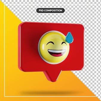 Grijnzend gezicht met zweetemoji-symbool in tekstballon