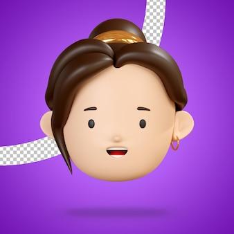 Grijnzend gezicht voor blije emoji van hoofdvrouwenkarakter