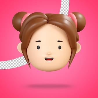 Grijnzend gezicht voor vrolijke emoji van schattig meisjeskarakter
