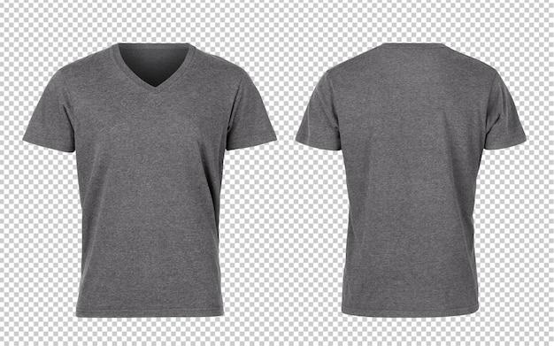 Grijze vrouw v-nect t-shirts voor- en achterkant mockup
