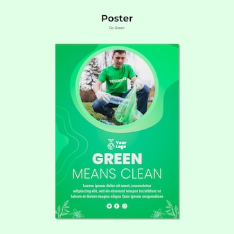 Groen betekent schoon poster sjabloon