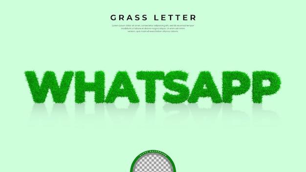 Groen gras van whatsapp word in 3d-rendering