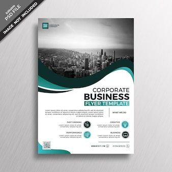 Groen groenblauw corporate business flyer sjabloonontwerp