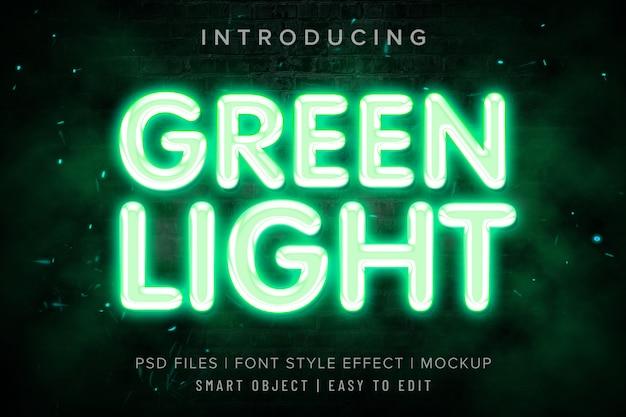 Groen licht lettertype stijl effect mockup