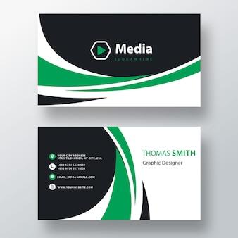 Groene golvende psd-sjabloon voor visitekaartjes