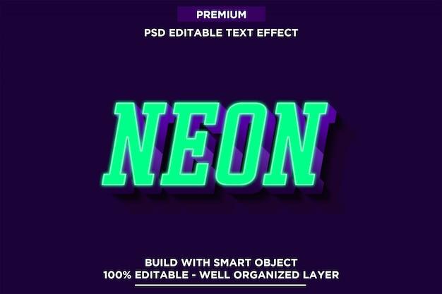 Groene neon 3d lettertype stijl teksteffect sjablonen