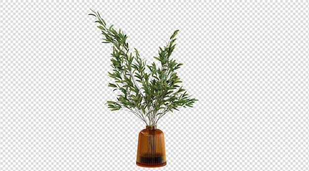 Groene plant in bruine glazen vaas