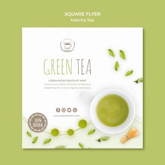 Groene thee vierkante sjabloon folder