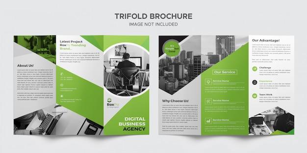 Groene zakelijke driebladige brochure
