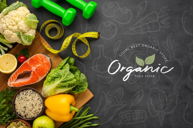 Groenten doodle achtergrond met gezonde voeding en halters