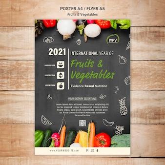 Groenten en fruit jaar flyer-sjabloon