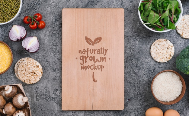 Groenten en ingrediënten vegan food mock-up