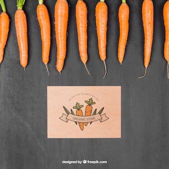 Groenten mockup met wortelen